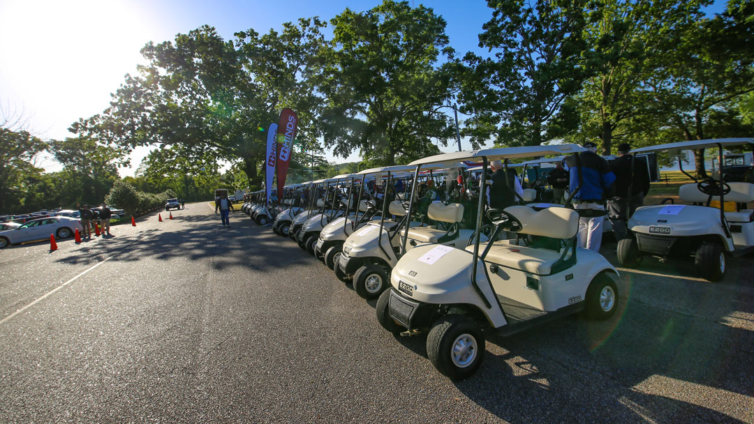 line of golf carts